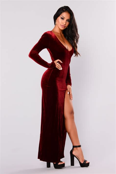 Love Sex Magic Velvet Dress Wine