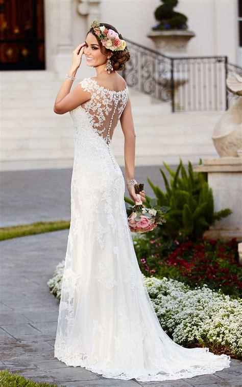 Satin Sheath Illusion Neckline Wedding Dress Stella York
