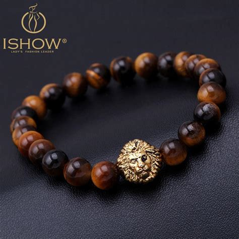 Tiger Eye Lion Head Bracelet Buddha Beads Bracelets