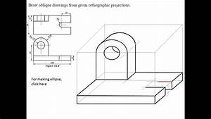 Engineering Drawing Tutorials  Oblique Drawing With Front And Side View  T 2 4