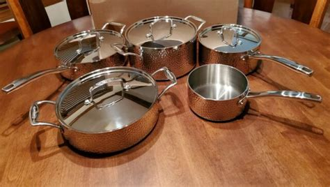 cuisinart  piece hammered tri ply cookware set stainless