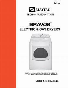 Maytag Bravos Gas  U0026 Electric Dryer Service  U0026 Repair Manual