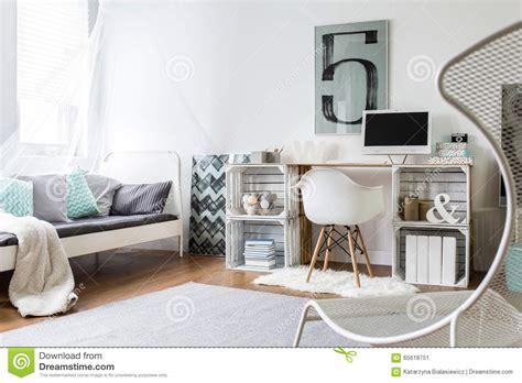 diy bureau diy desk in stylish room stock image image of style