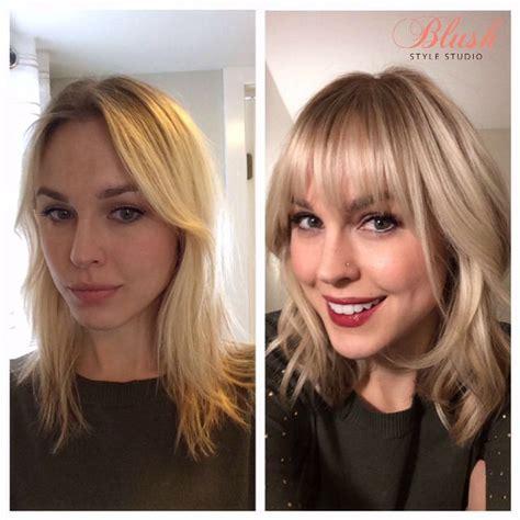 bangs hairstyle blonde highlights