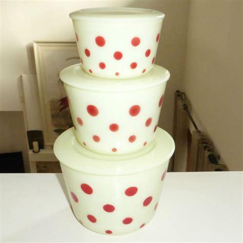 glass polka mckee dots canister stacking jar custard piece glassware kitchenware tupperware accessories