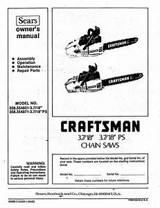 Craftsman 358354831 User Manual 3 7  18  3 7  18 Ps Chain