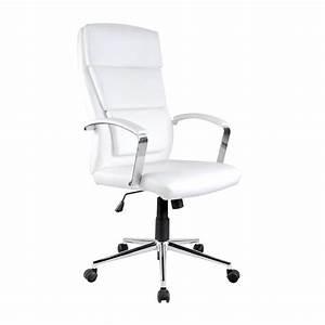 Fauteuil Cuir Bureau : fauteuil de bureau en simili cuir blanc aurelia ~ Teatrodelosmanantiales.com Idées de Décoration