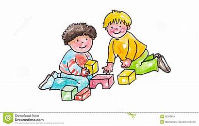 Sharing Playing Clipart Toys Children Bambini Gioco