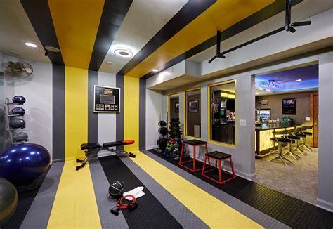 boxing gym home contemporary  striped walls soft close