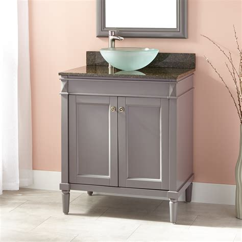 chapman vessel sink vanity gray bathroom