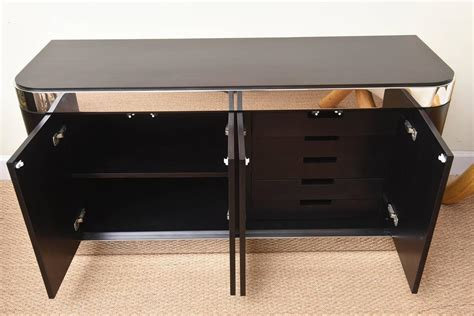 stainless steel credenza pace stainless steel and ebonized cabinet credenza for