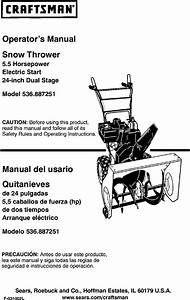 Craftsman 536887251 User Manual 24 5 5 Hp Snow Thrower