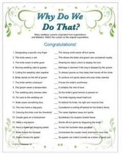 wedding quizzes wedding trivia why do we do that tradition with trivia questions answers bridal shower