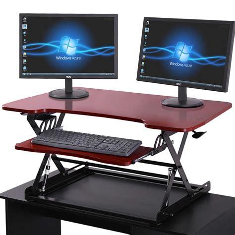 laptop workstation desk brown adjustable height stand up desk computer workstation