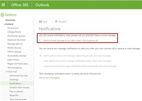 Office 365 Outlook Voice Access by How To Enable Disable Missed Call Notifications