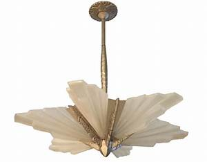 French art deco chandelier by degue sunburst modernism