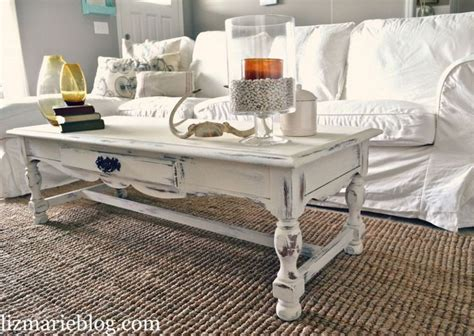 shabby chic white coffee table re do