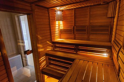 picture sauna room wood plank light bench