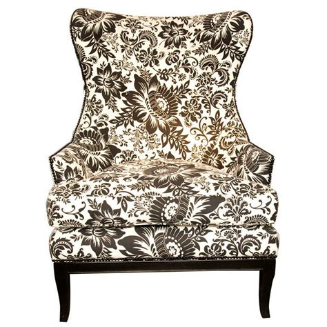 handsome comfortable wingback chair upholstered in bold