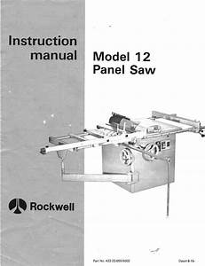 Delta Rockwell Model 12 Panel Saw Instruction Manual