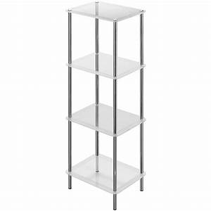 12 ideas of free standing glass shelves for Metal bathroom shelving unit