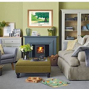 Olive green and grey living room housetohomecouk for Green and grey living room