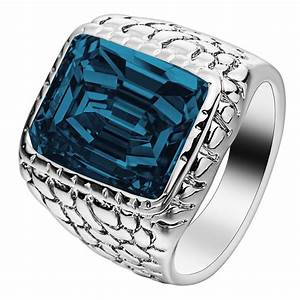 silver color large square crystal men ring jewelry for With big square wedding rings