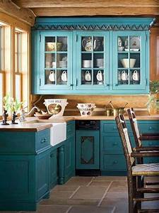 20 refreshing blue kitchen design ideas rilane With kitchen colors with white cabinets with southwest metal wall art