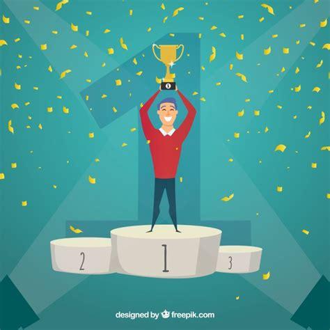 contest winner background  trophy  confetti vector