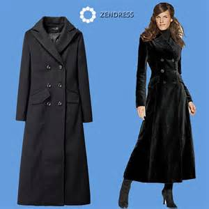 zendress super long winter dress black woolen winter coat