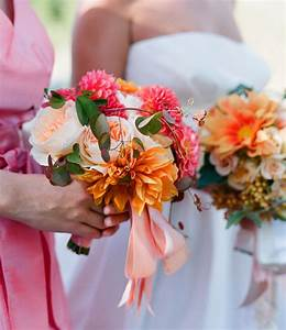 Love this bridesmaid bouquet...pumpkin and hot pink ...