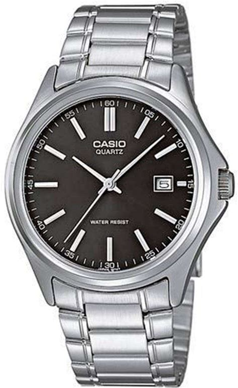 casio quartz analog stainless steel black mtp 1183a