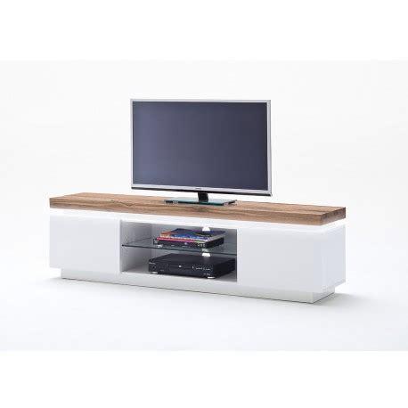 meuble tv blanc et bois meuble tv design laqu 233 blanc mat et bois 224 led cbc meubles