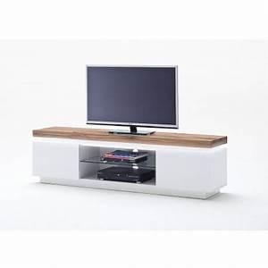 Meuble Tv Design Bois : meuble tv design laqu blanc mat et bois led cbc meubles ~ Melissatoandfro.com Idées de Décoration