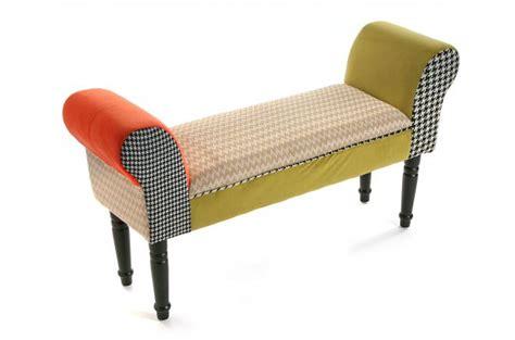 bout de canapé en bois banc bout de lit en tissu patchwork 100cm ally banquette