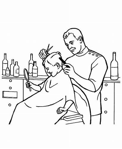Barber Coloring Pages Hair Clipart Colouring Jobs