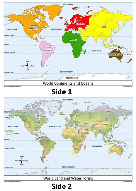world map set continents oceans map activities map