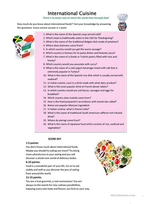 quiz cuisine international cuisine quiz worksheet free esl printable