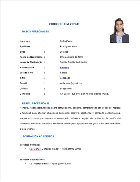 Lebenslauf Einfach by Modelo De Curriculum Vitae Simple Peru Modelo De