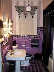 vintage purple black tile bathroom for alaina39s bathroom With dark purple bathrooms