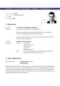 Cv Or Resume Format by Sle Cv Vitae