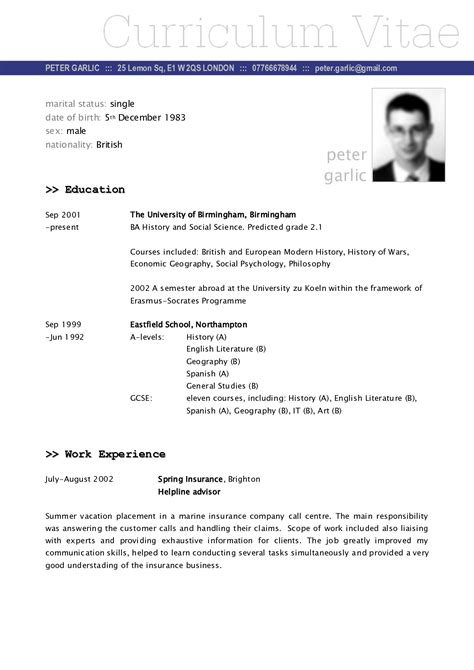 Exle Of Cv Resume For by Sle Cv Vitae