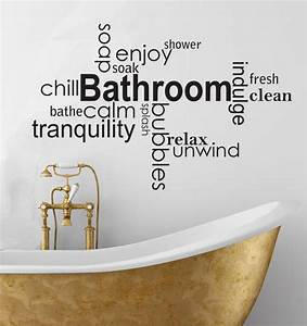 Wall decals soothing bathroom vinyl wall art words for Wall art stickers for bathrooms