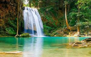 Nature, Falls, Pool, With, Turquoise, Green, Water, Rock, Coast, Trees, Hd, Desktop, Backgrounds, Free