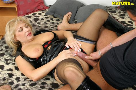 Buxom Blonde Mommy In Leather Boots And Corset Parts Her