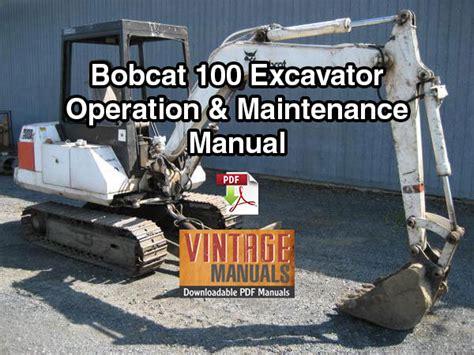 bobcat  excavator operation maintenance manual sn