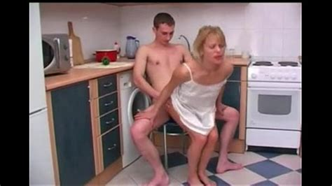 Russian Mother With Her Son Sex In The Kitchen
