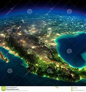 Night Earth. A Piece Of North America - Mexico Stock ...