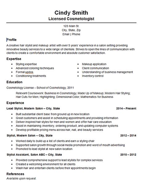 Cosmetologist Resume by Cosmetology Salon Stylist Resume Exle