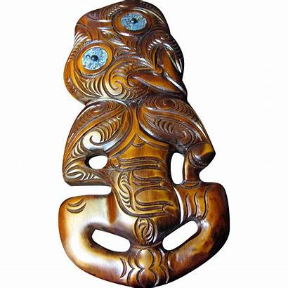 Maori Traditional Tiki Mask Carved Sculpture